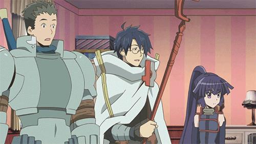 Naotsugu, Shiroe, and Akatsuki from the anime Log Horizon