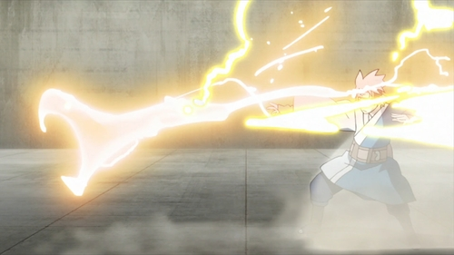 Mitsuki using his Snake Lightning jutsu against Shinki (from the anime Boruto: Naruto Next Generations)