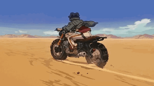 """Gearless"" Joe on his motorcycle from the anime Megalo Box"