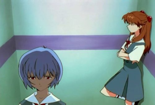 The Elevator scene from episode 22 of the Neon Genesis Evangelion anime featuring Rei and Asuka
