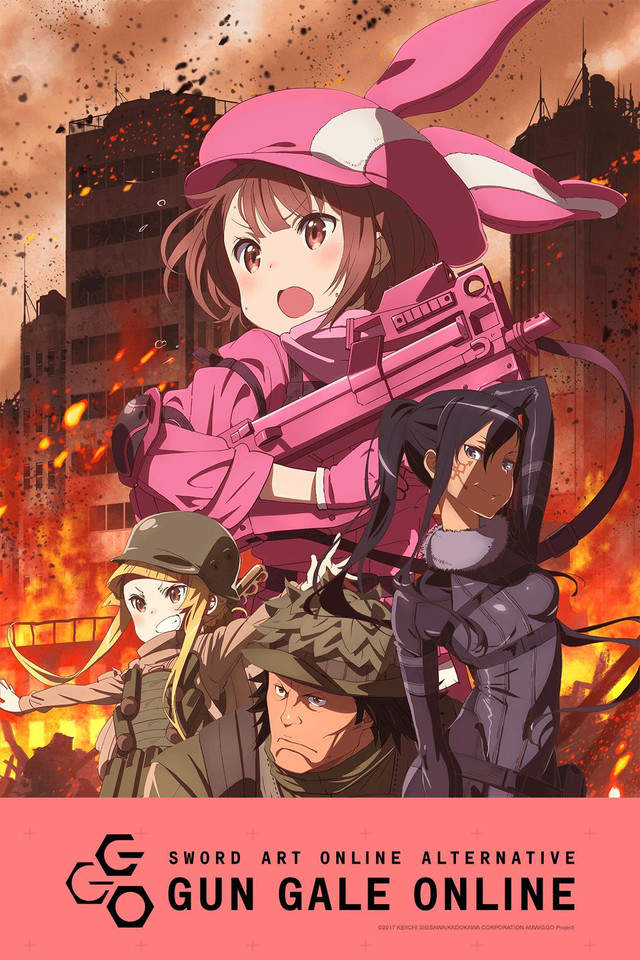 Sword Art Online Alternative: Gun Gale Online anime cover art featuring LLENN, Fuka, Pito, and M