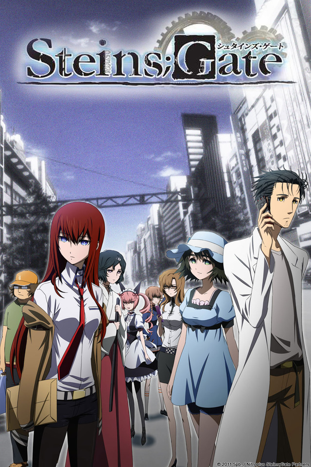 Steins;Gate anime cover art featuring the Lab members