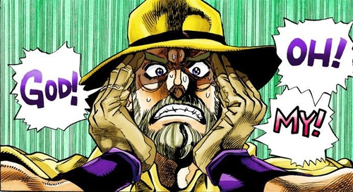 "Joseph Joestar saying ""Oh! My! God!"" from the manga JoJo's Bizarre Adventure: Stardust Crusaders"