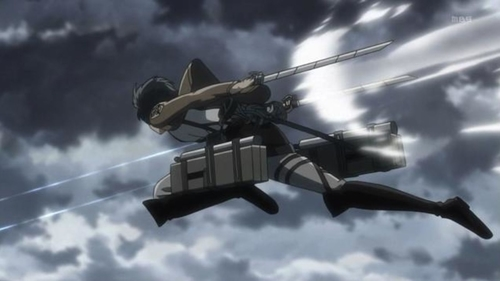 3D Maneuvering Gear in action from the anime Attack on Titan