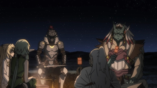 Goblin Slayer and his new comrades from the anime Goblin Slayer
