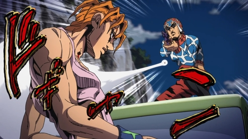 Guido Mista vs. Sale from the anime JoJo's Bizarre Adventure Part 5: Golden Wind