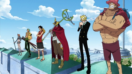 Nami, Zoro, Luffy, Sogeking (Usopp), Sanji, and Chopper from the Water 7 saga of the One Piece anime