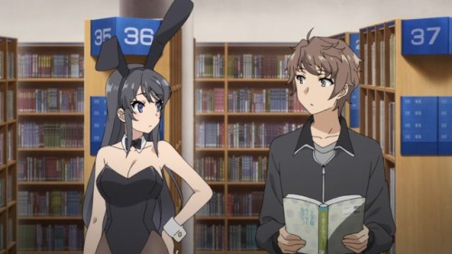 Mai Sakurajima and Sakuta Azusagawa from the anime series Rascal Does Not Dream of Bunny Girl Senpai