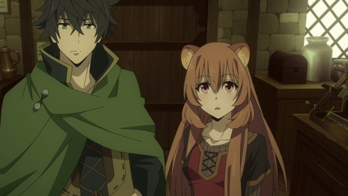 Naofumi Iwatani and Raphtalia from the anime series The Rising of the Shield Hero