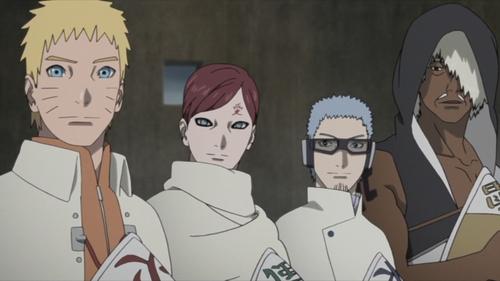 Naruto, Gaara, Chōjūrō, and Darui from the anime series Boruto: Naruto Next Generations
