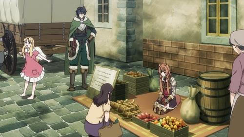 Naofumi, Raphtalia, and Filo as merchants from the anime series The Rising of the Shield Hero