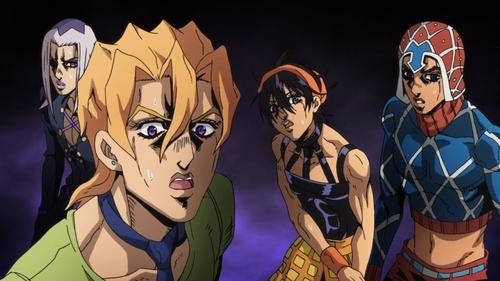 Abbacchio, Fugo, Narancia, and Mista from the anime series JoJo's Bizarre Adventure Part 5: Golden Wind