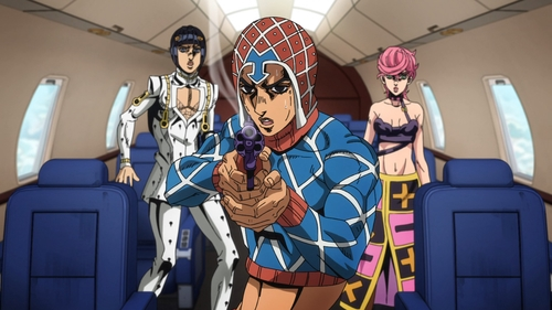 Mista, Buccellati, and Trish from the anime series JoJo's Bizarre Adventure Part 5: Golden Wind