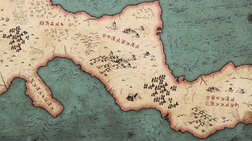 A map of the surrounding regions from the anime series The Rising of the Shield Hero
