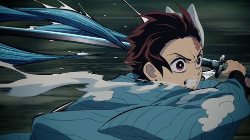 Tanjirou Kamado using his Water Breathing from the anime series Demon Slayer: Kimetsu no Yaiba
