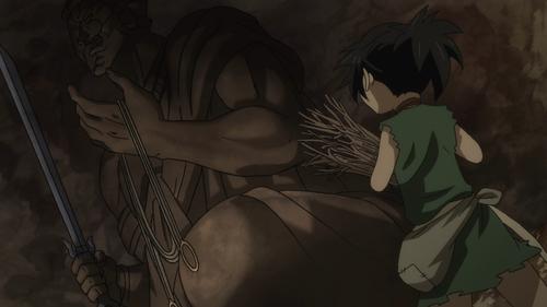 Dororo finding the Fudo statue from the anime series Dororo