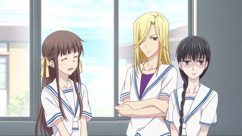 Tooru Honda, Arisa Uotani, and Saki Hanajima from the anime series Fruits Basket