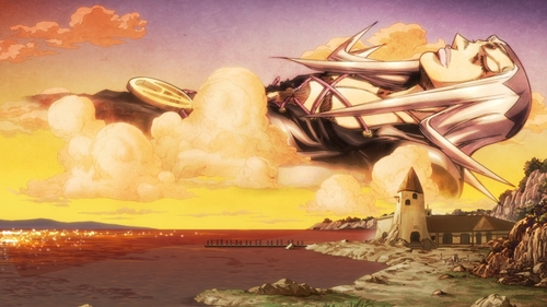 Leone Abbacchio pictured in the sky from the anime series JoJo's Bizarre Adventure Part 5: Golden Wind