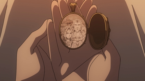 A picture of the King and Queen in Melty's locket from the anime series The Rising of the Shield Hero