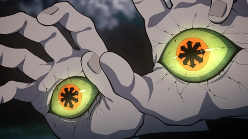 Yahaba's eyes from the anime series Demon Slayer: Kimetsu no Yaiba