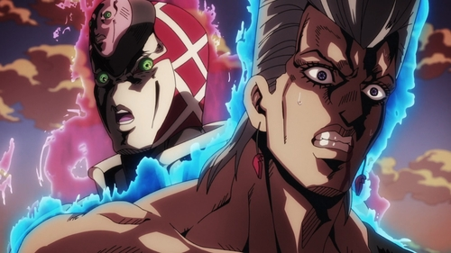 Jean Pierre Polnareff and King Crimson from the anime series JoJo's Bizarre Adventure Part 5: Golden Wind