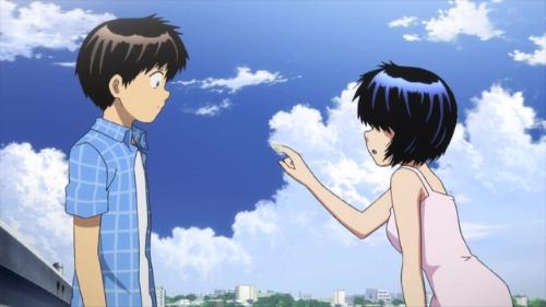 Akira Tsubaki and Mikoto Urabe from the anime series Mysterious Girlfriend X