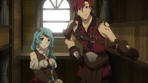 L'Arc and his party member from the anime series The Rising of the Shield Hero