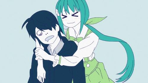 Koyomi Araragi and Mayoi Hachikuji from the Zoku Owarimonogatari anime
