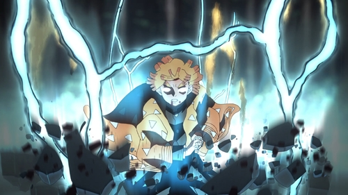 Zenitsu using the Thunder Breathing Technique from the anime series Demon Slayer: Kimetsu no Yaiba