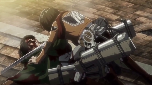 Mikasa vs. Levi Ackerman from the anime series Attack on Titan Season 3 Part 2