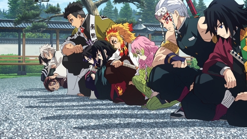 The nine Hashira (and Tanjirou) bowing before their master from the anime series Demon Slayer: Kimetsu no Yaiba