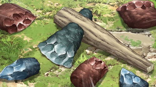 Senku's stone tools from the anime series Dr. Stone