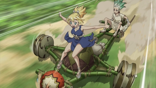 Senku and Kohaku riding on a cart from the anime series Dr. Stone