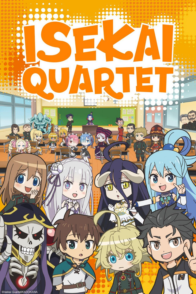 Isekai Quartet anime series cover art