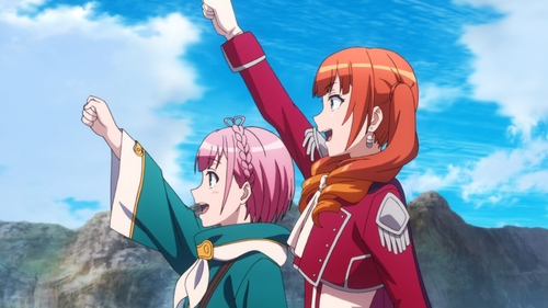 Porta and Wise cheering from the anime series Do You Love Your Mom and Her Two-Hit Multi-Target Attacks?