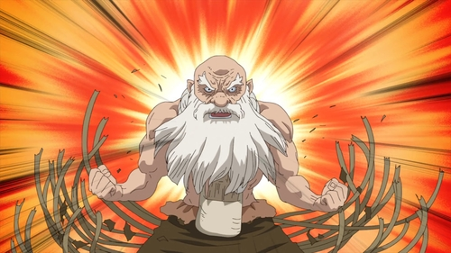 Kaseki breaking free from his bindings from the anime series Dr. Stone