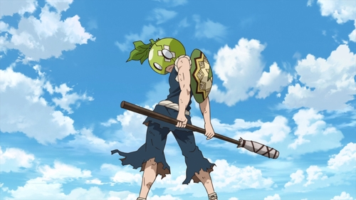 Kinro wearing Suika's melon helmet from the anime series Dr. Stone