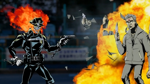 Inferno Cop shooting criminals from the anime series Inferno Cop