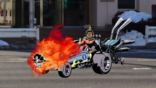 Inferno Cop (in car form) and Hellfire Boy from the anime series Inferno Cop