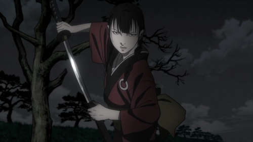 Rin Asano drawing her sword from the anime series Blade of the Immortal