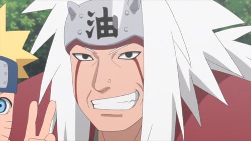 Jiraiya (and Naruto) posing in a photograph from the anime series Boruto: Naruto Next Generations