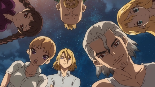 The six survivors of the petrification event from the anime series Dr. Stone