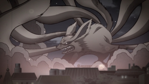 The Nine-Tailed Fox destroying the Hidden Leaf Village from the anime series Boruto: Naruto Next Generations