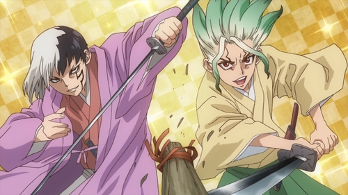 Chrome and Senku wielding katana from the anime series Dr. Stone