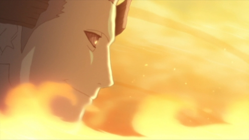 Urashiki Ōtsutsuki surrounded by flames from the anime series Boruto: Naruto Next Generations