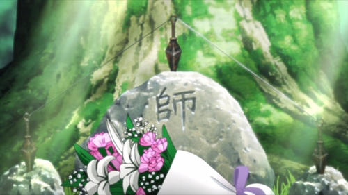 Jiraiya's grave outside the Leaf Village from the anime series Boruto: Naruto Next Generations