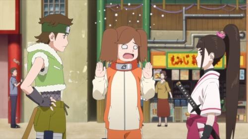 Wasabi Izuno, Namida Suzumeno, and Tsubaki Kurogane from the anime series Boruto: Naruto Next Generations