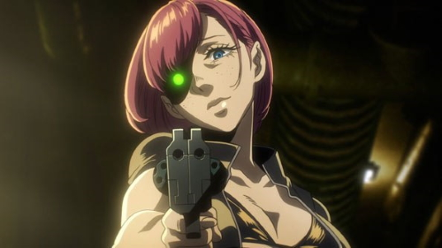Karen holding a double barreled revolver from the anime series No Guns Life