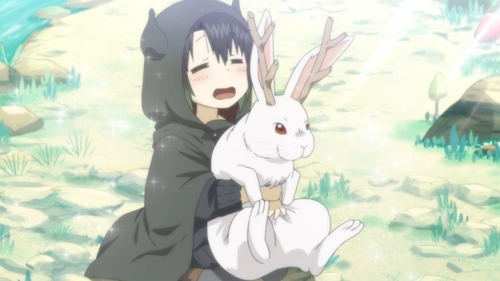 Somali holding a horned rabbit from the anime series Somali and the Forest Spirit