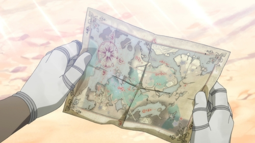 Golem holding a map of the continent from the anime series Somali and the Forest Spirit